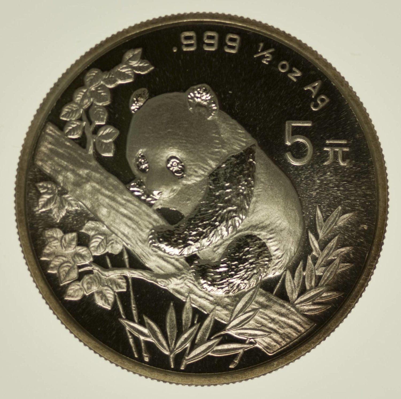 1/2 Unze Silbermünze China Panda 1995 5 Yuan 15,55 Gramm fein Silber RAR
