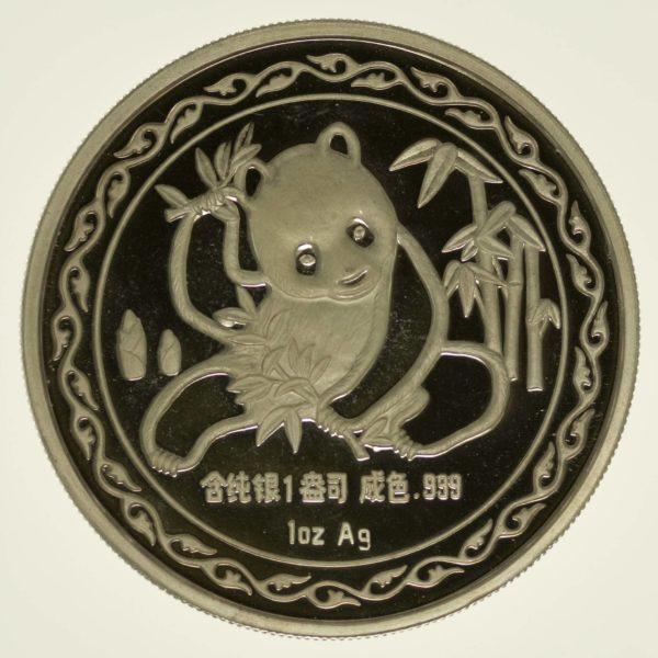 China, Medaille 1989, Panda, NY Intern. Numismatic Convention, Silber 1OZ, RAR