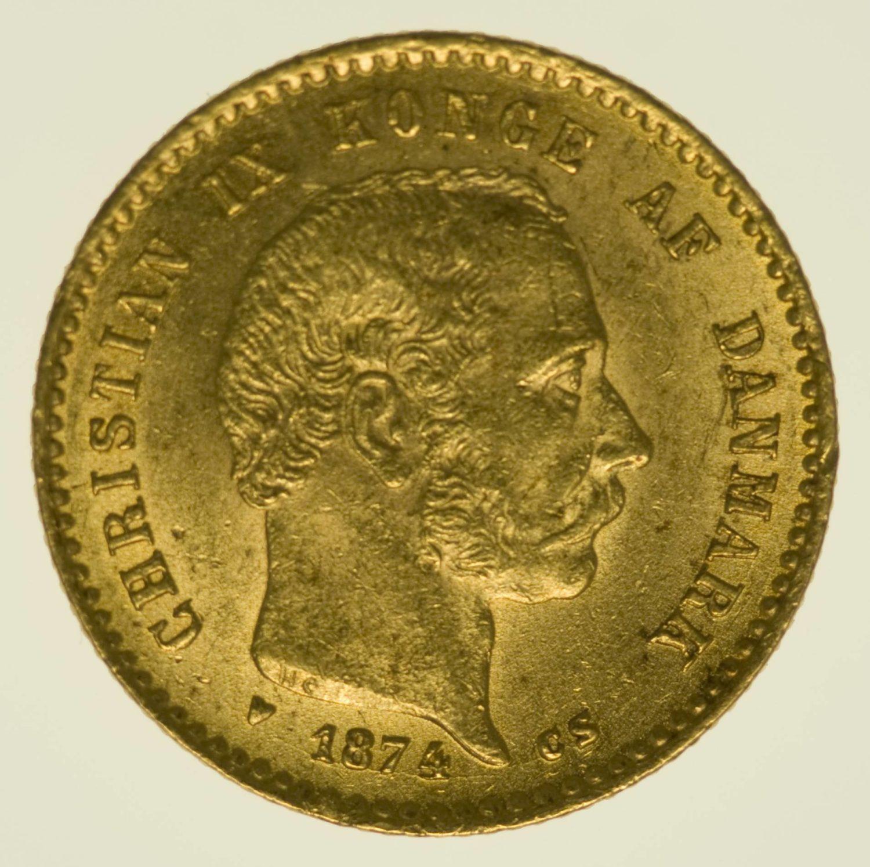 Dänemark Christian IX. 10 Kronen 1874 Gold 4,03 Gramm fein RAR