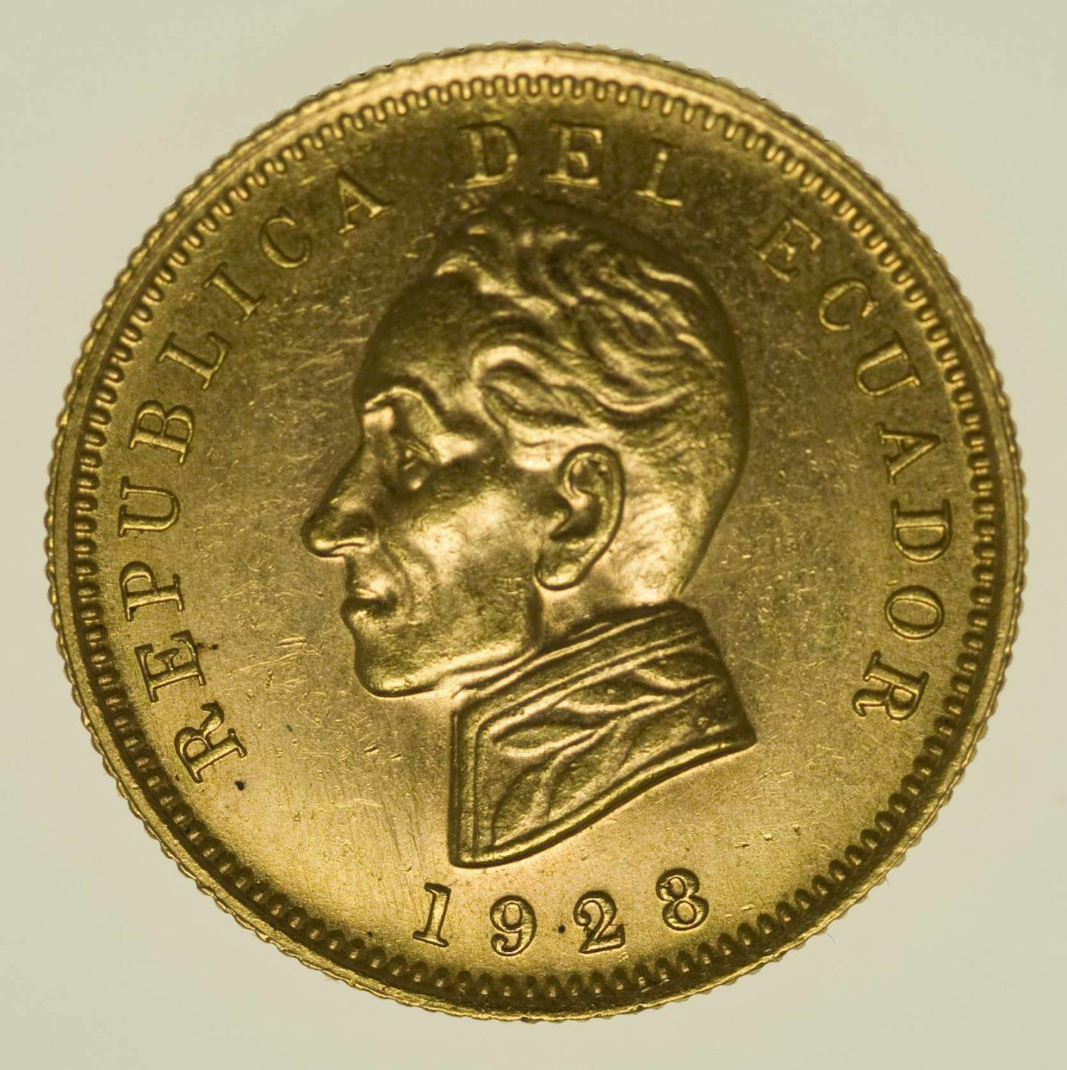 Ecuador Condor 1928 Gold 7,52 Gramm fein RAR