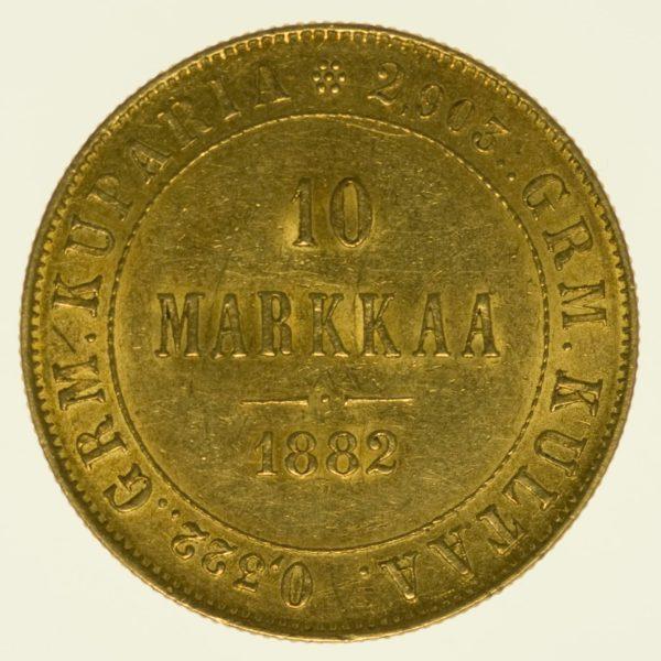 Finnland Alexander III. 10 Markkaa 1882 Gold 2,90 Gramm fein RAR