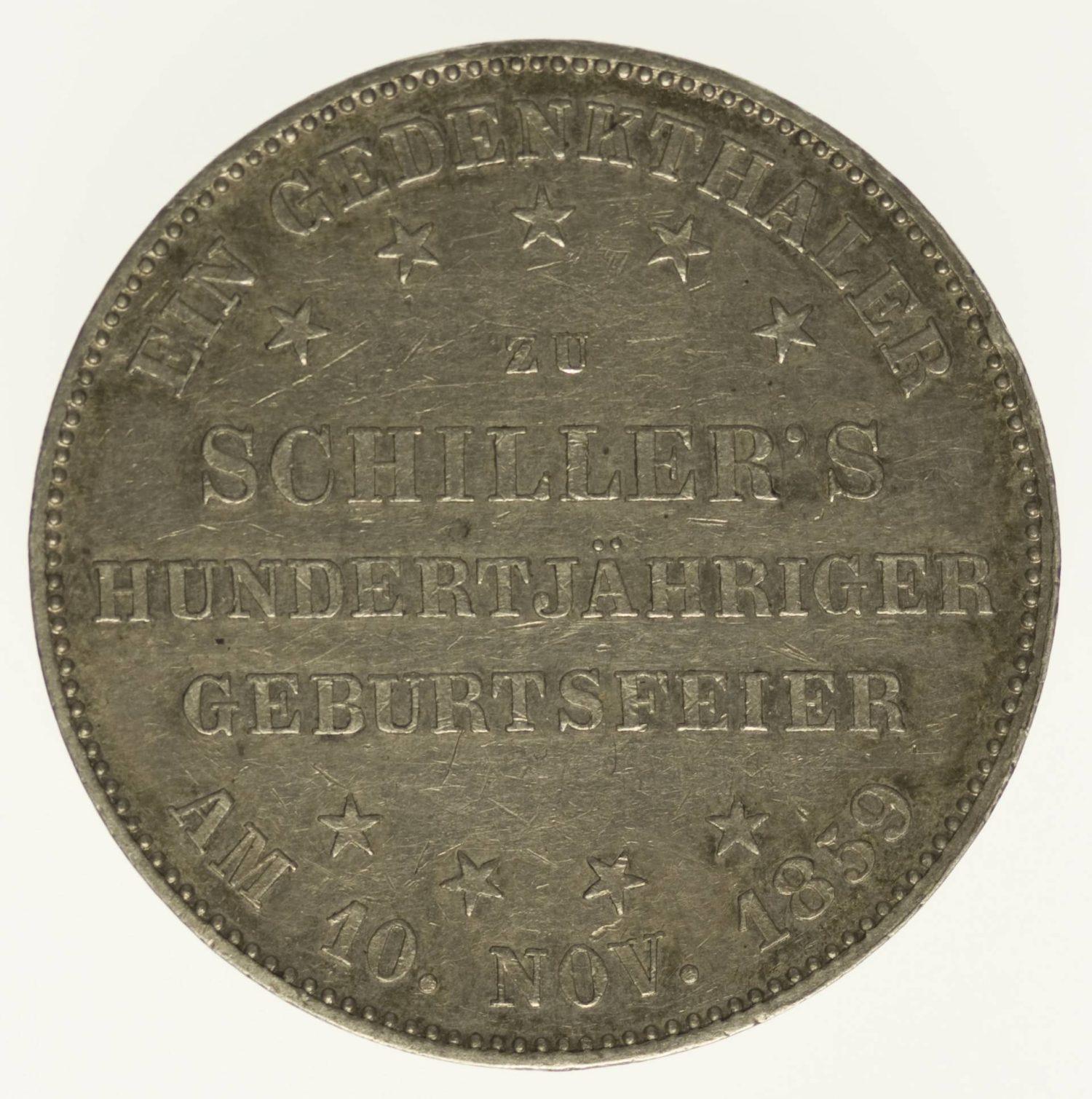 Frankfurt Stadt Vereinstaler 1859 Silber 16,67 Gramm fein RAR