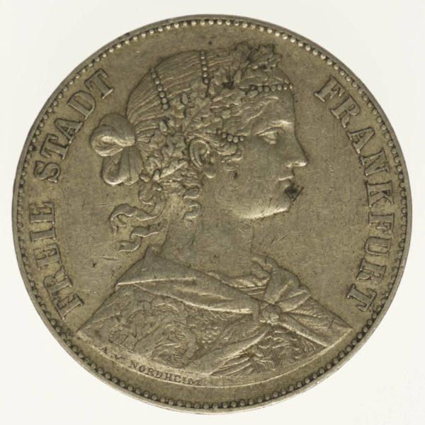 Frankfurt Stadt Vereinstaler 1860 Silber 16,67 Gramm fein RAR