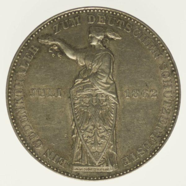 Frankfurt Stadt Vereinstaler 1862 Silber 16,67 Gramm fein RAR