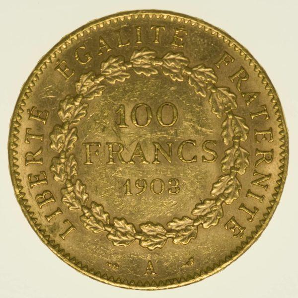 Frankreich Stehender Engel 100 Francs 1903 A Gold 29,03 Gramm fein RAR