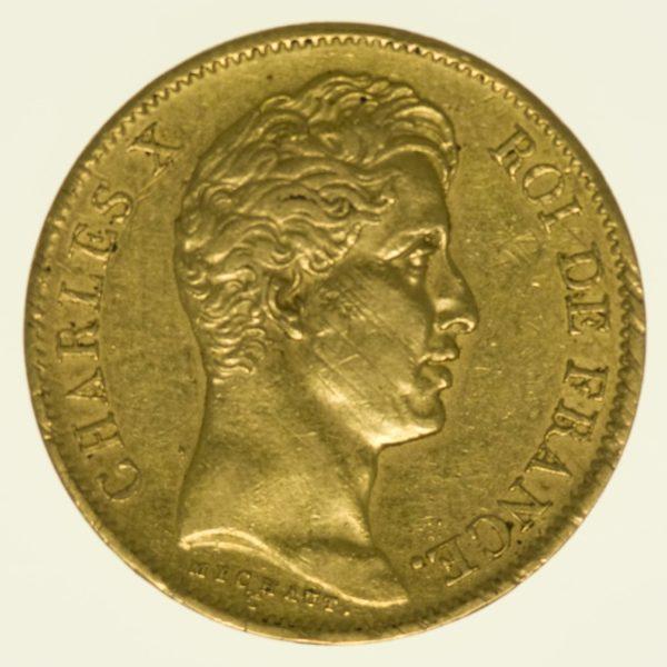 Frankreich Charles X. 40 Francs 1828 A Gold 11,61 Gramm fein RAR
