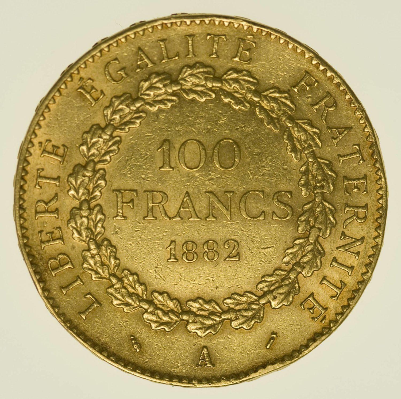 Frankreich Stehender Engel 100 Francs 1882 A Gold 29,03 Gramm fein RAR