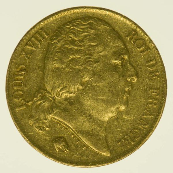 Frankreich Louis XVIII. 20 Francs 1817 A Gold 5,81 Gramm fein RAR
