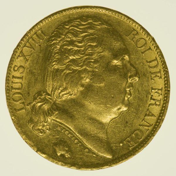 Frankreich Louis XVIII. 20 Francs 1819 A Gold 5,81 Gramm fein RAR