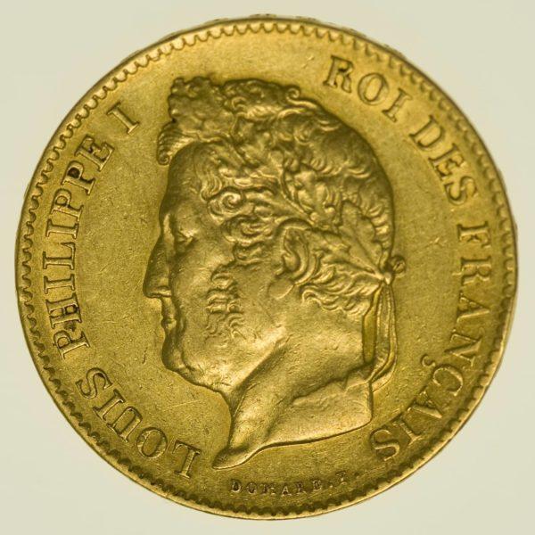 Frankreich Louis Philippe I. 40 Francs 1834 A Gold 11,61 Gramm fein RAR