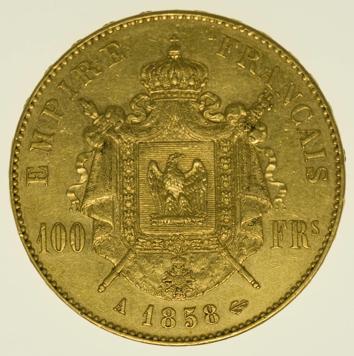 Frankreich Napoleon III. ohne Kranz 100 Francs 1858 A Gold 29,03 Gramm fein RAR