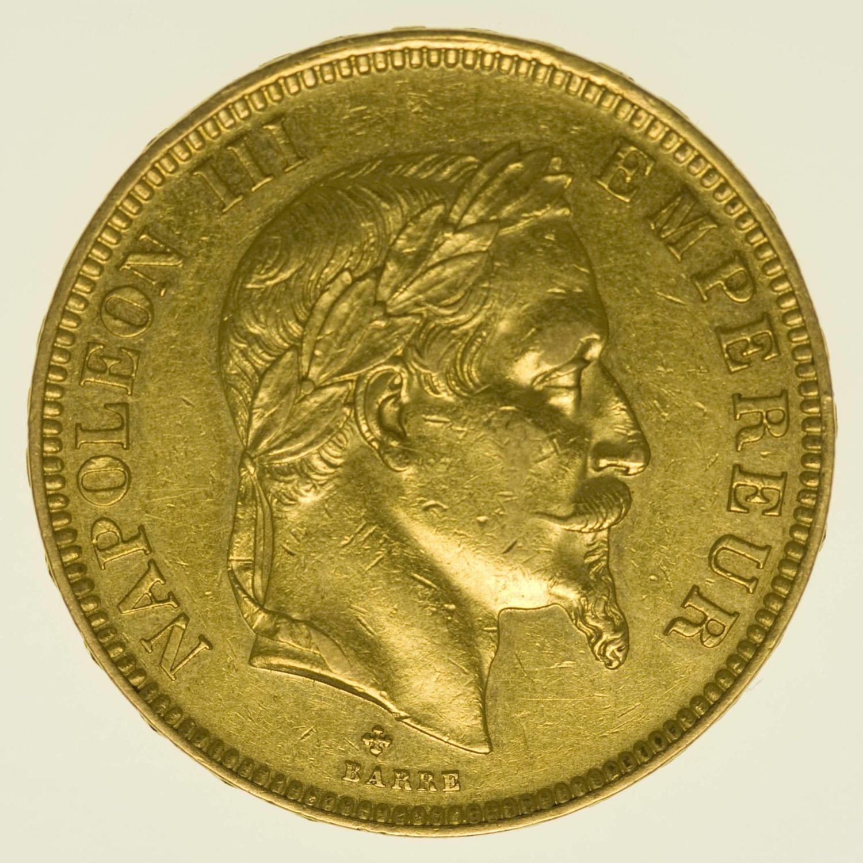 Frankreich Napoleon III. mit Kranz 100 Francs 1863 BB Gold 29,03 Gramm fein RAR