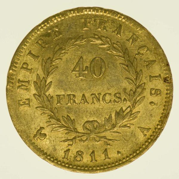 Frankreich Napoleon I. mit Kranz 40 Francs 1811 A Gold 11,61 Gramm fein RAR