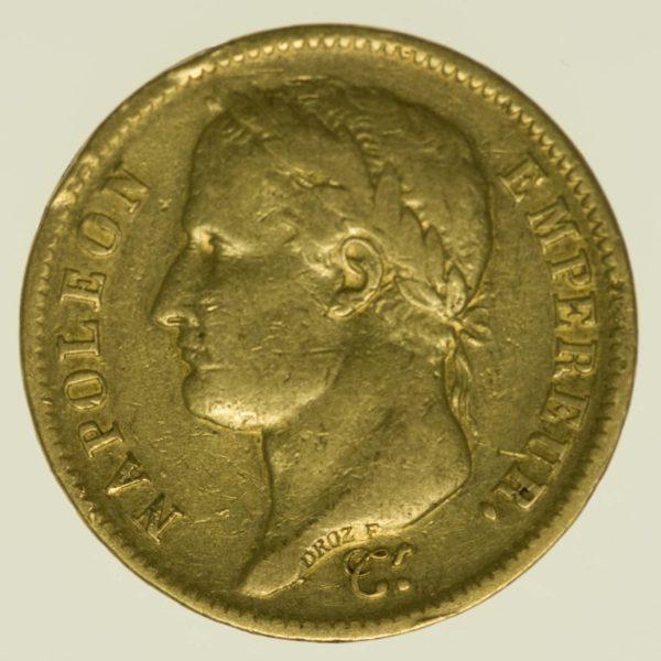 Frankreich Napoleon I. mit Kranz 40 Francs 1812 A Gold 11,61 Gramm fein RAR