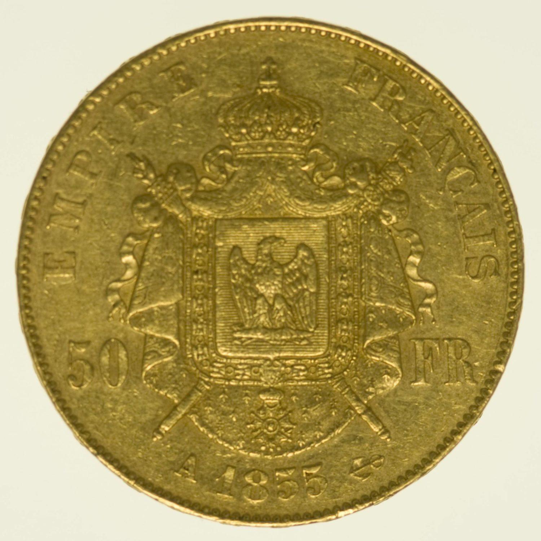 Frankreich Napoleon III. ohne Kranz 50 Francs 1855 A Gold 14,52 Gramm fein RAR