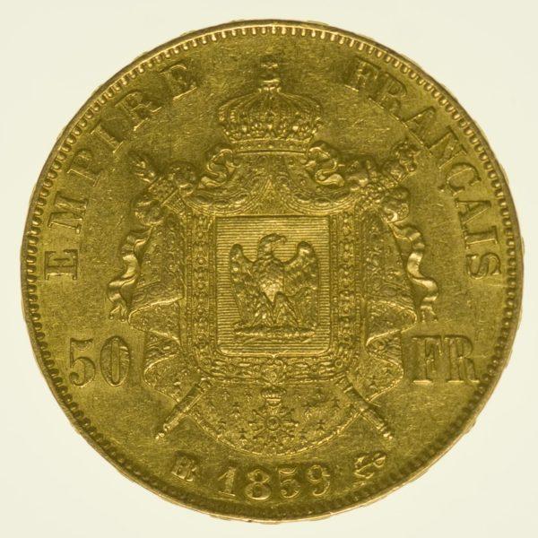 Frankreich Napoleon III. ohne Kranz 50 Francs 1859 BB Gold 14,52 Gramm fein RAR