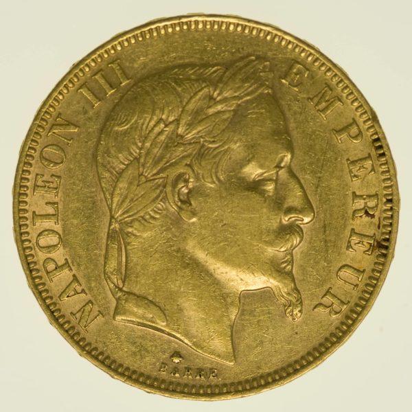 Frankreich Napoleon III. mit Kranz 50 Francs 1862 A Gold 14,52 Gramm fein RAR