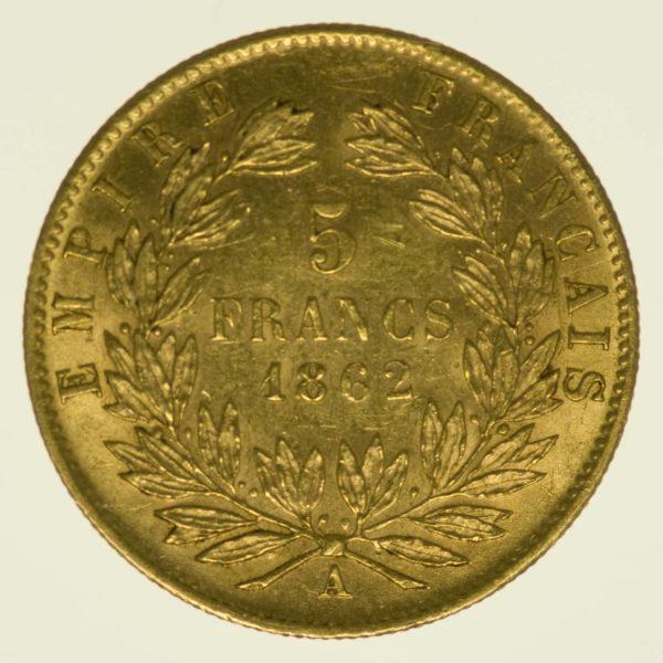 Frankreich Napoleon III. mit Kranz 5 Francs 1862 A Gold 1,45 Gramm fein RAR