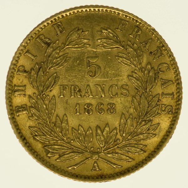 Frankreich Napoleon III. mit Kranz 5 Francs 1868 A Gold 1,45 Gramm fein RAR