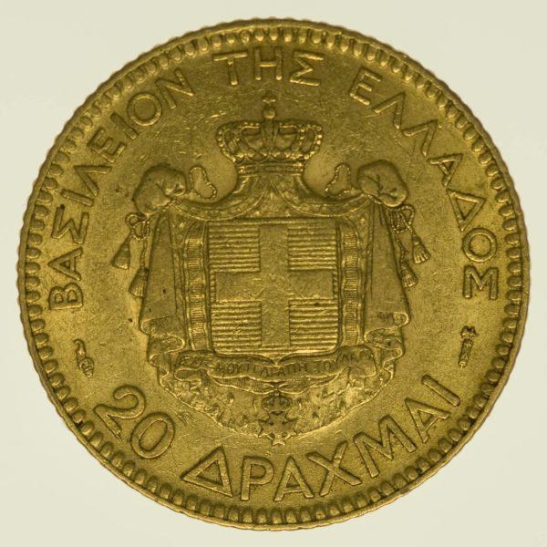 Griechenland Georg I. 20 Drachmen 1884 A Gold 5,81 Gramm fein RAR