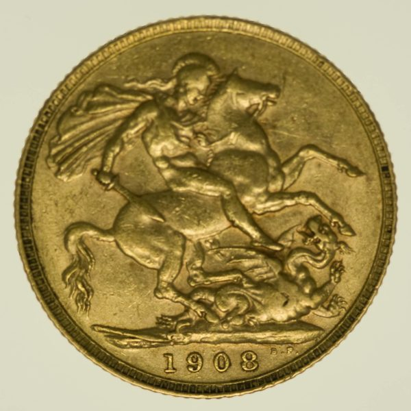 Grossbritannien Edward VII. Sovereign 1908 Gold 7,32 Gramm fein RAR