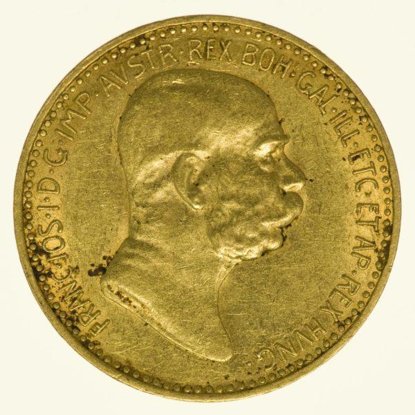 Kaiserreich Österreich Franz Joseph I. 10 Kronen 1908 Gold 3,05 g fein RAR