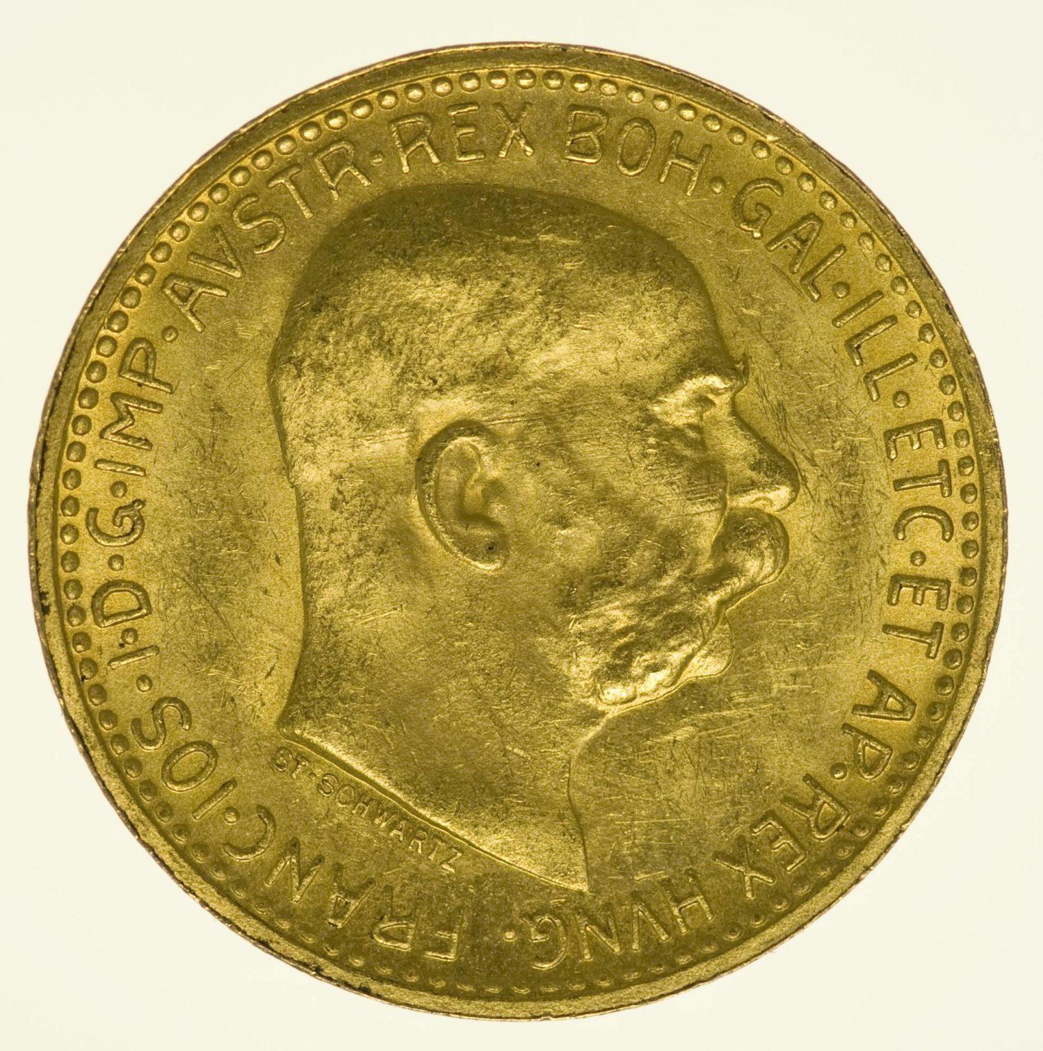 Kaiserreich Österreich Franz Joseph I. 10 Kronen 1911 Gold 3,05 g fein RAR