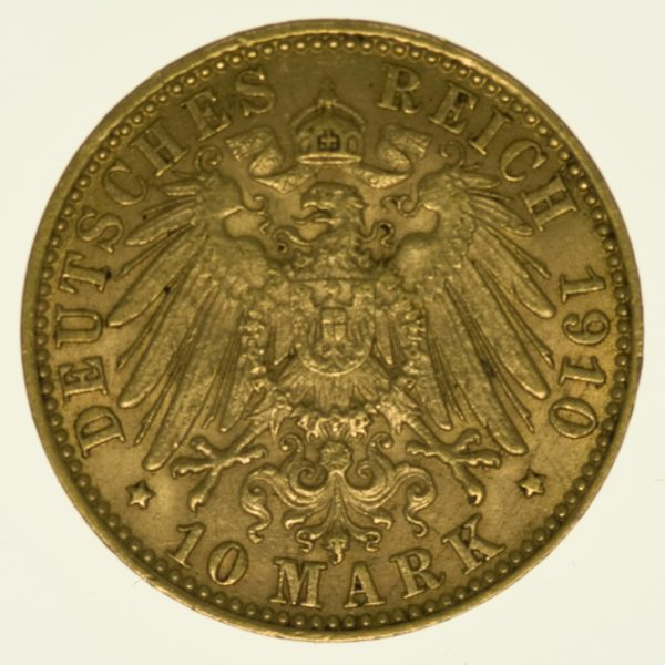 Hamburg Stadtwappen 10 Mark 1910 Gold 3,58 Gramm fein RAR