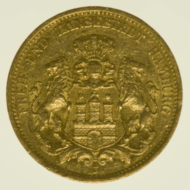 Hamburg Stadtwappen 20 Mark 1877 Gold 7,16 Gramm fein RAR