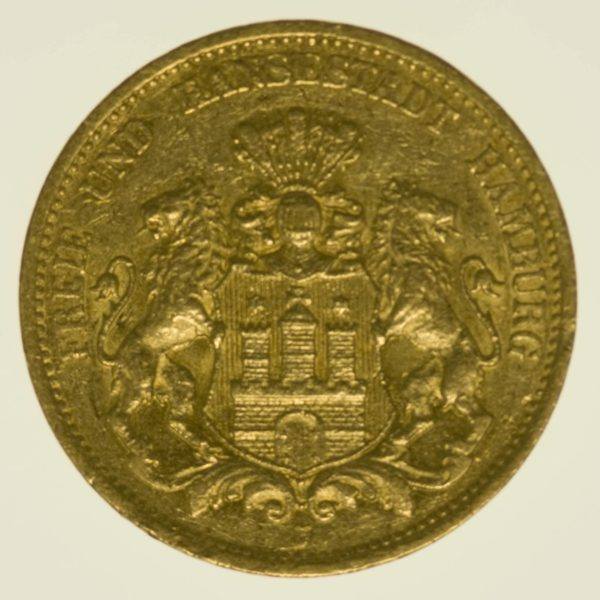 Hamburg Stadtwappen 20 Mark 1877 Gold 7,16 Gramm fein RAR