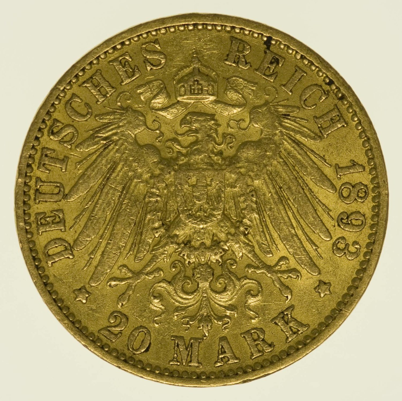 Hamburg Stadtwappen 20 Mark 1893 Gold 7,16 Gramm fein RAR