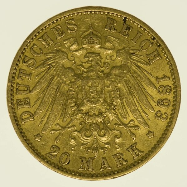 Hamburg Stadtwappen 20 Mark 1893 Gold 7,16 Gramm fein RAR