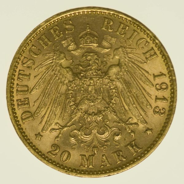 Hamburg Stadtwappen 20 Mark 1913 Gold 7,16 Gramm fein RAR