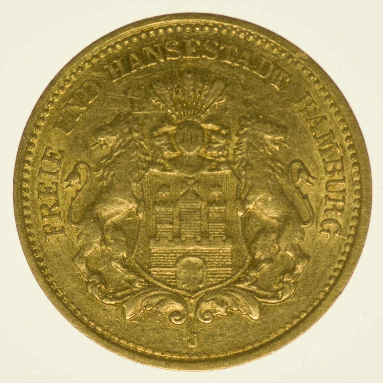 Hamburg Stadtwappen 5 Mark 1877 Gold 1,79 Gramm fein RAR