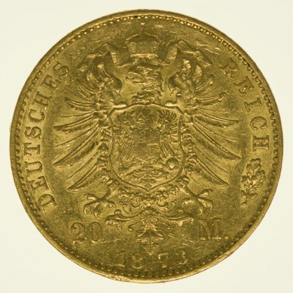 Hessen Ludwig III. 20 Mark 1873 Gold 7,16 Gramm fein RAR