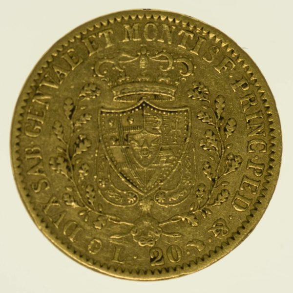 Italien Sardinien Karl Felix 20 Lire 1828 Gold 5,81 Gramm fein RAR