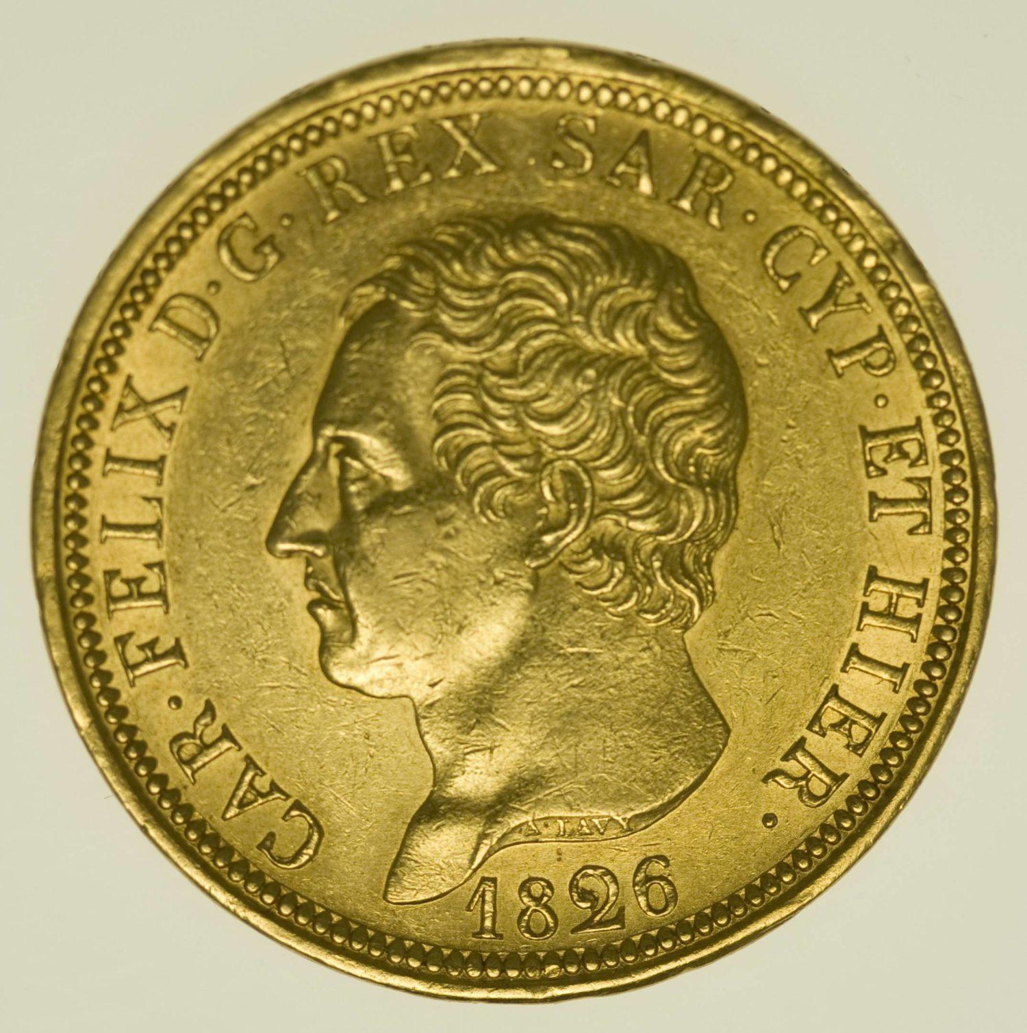 Italien Sardinien Karl Felix 80 Lire 1826 Gold 23,23 Gramm fein RAR