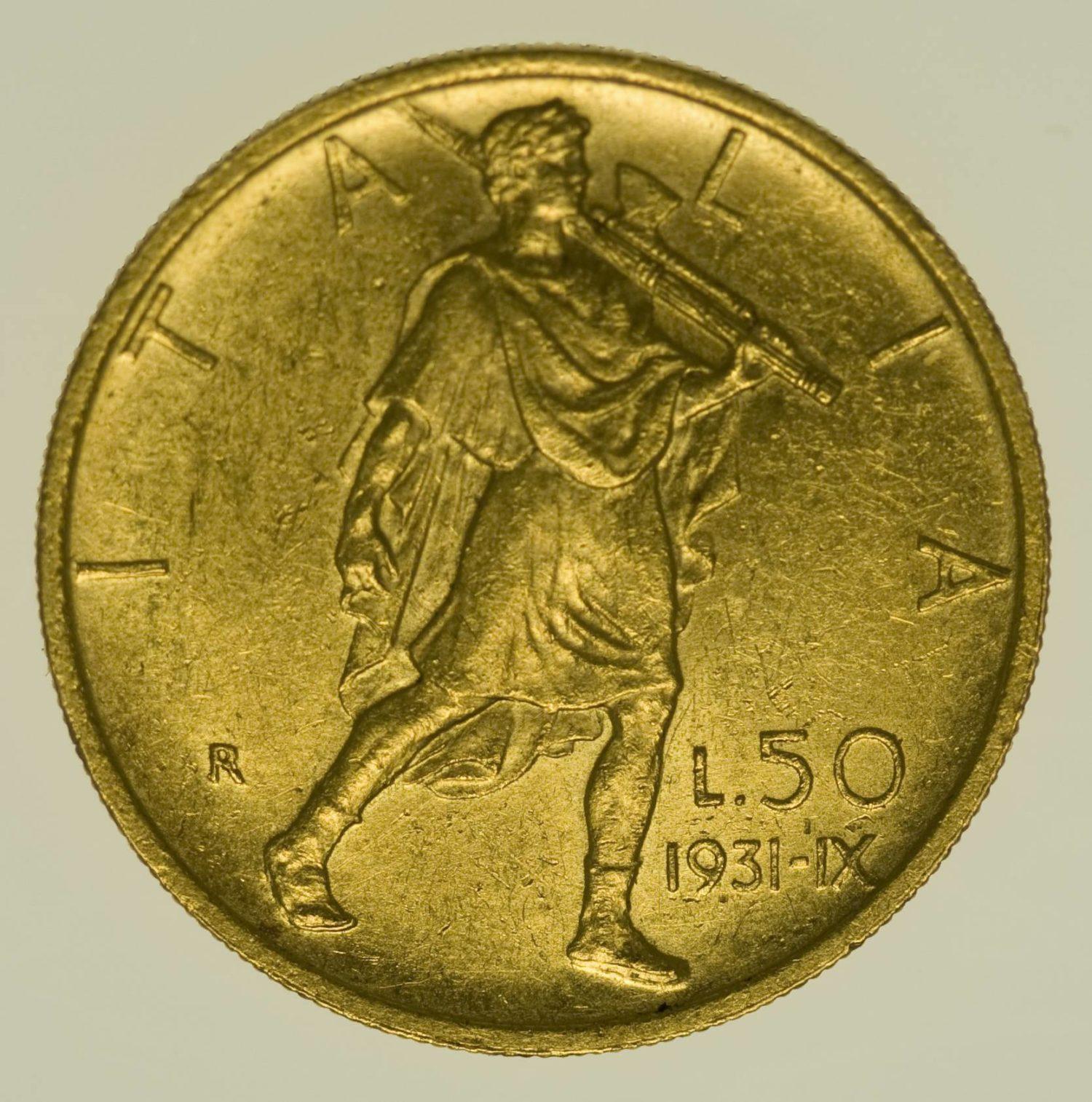 Italien Vittorio Emanuele III. 50 Lire 1931-IX Gold 3,96 Gramm fein RAR