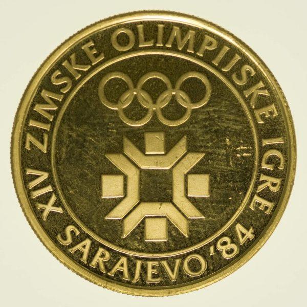 Jugoslawien 5000 Dinar 1982 Olympische Winterspiele 1984 Gold 7,2 Gramm fein RAR
