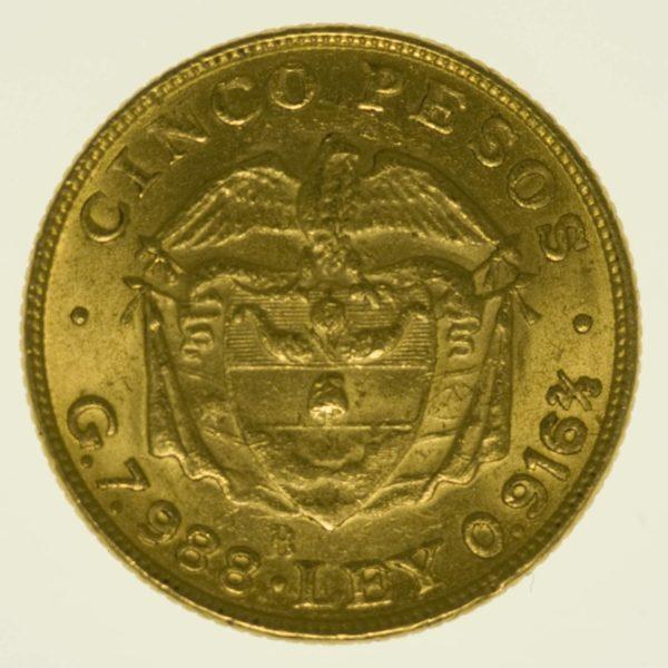 Kolumbien Simon Bolivar 5 Pesos 1924 Gold 7,32 Gramm fein RAR