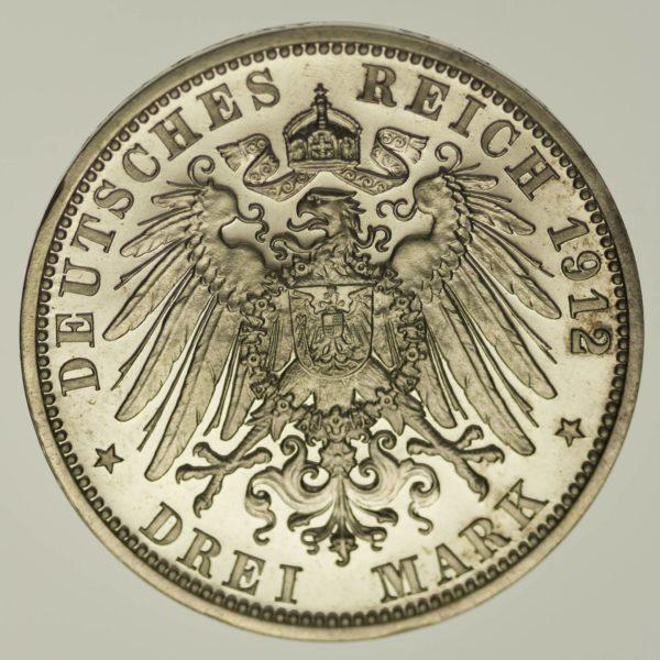 Lübeck Stadtwappen 3 Mark 1912 Silber 15 Gramm fein RAR