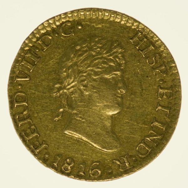 Mexiko Fernando VII. 1/2 Escudo 1816 Gold 1,48 Gramm RAR