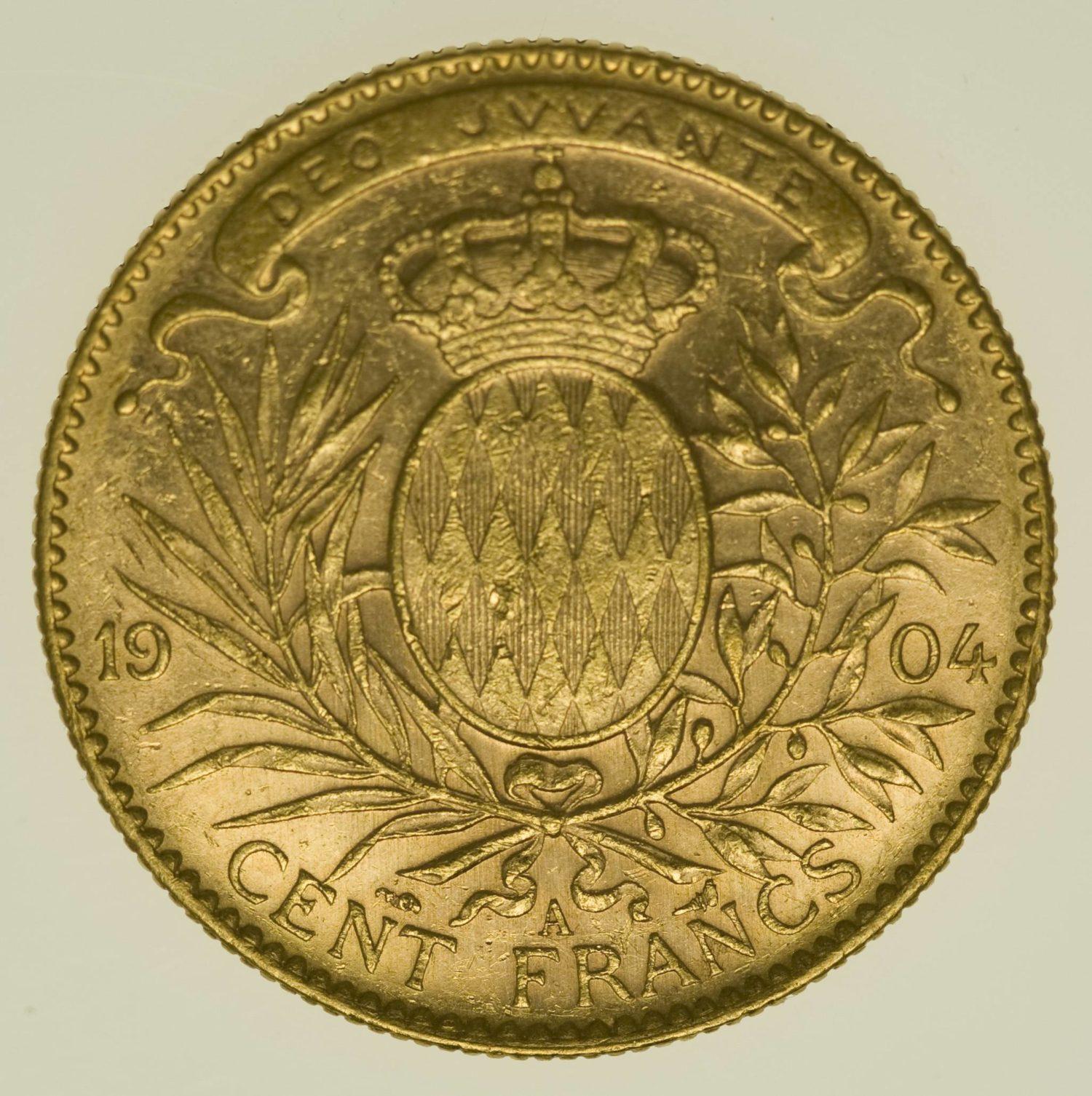 Monaco Albert I. 100 Francs 1904 A Gold 29,03 Gramm fein RAR