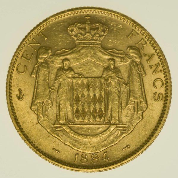 Monaco Charles III. 100 Francs 1884 A Gold 29,03 Gramm fein RAR