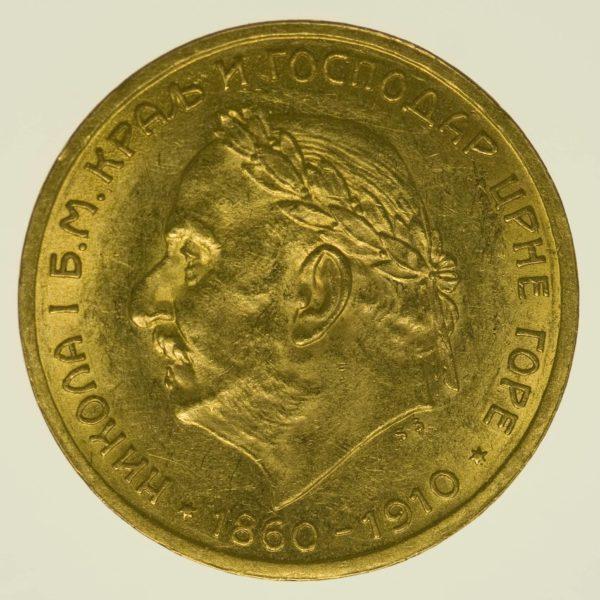 Montenegro Nikolaus I. 10 Perpera 1910 Gold 3,05 Gramm fein RAR
