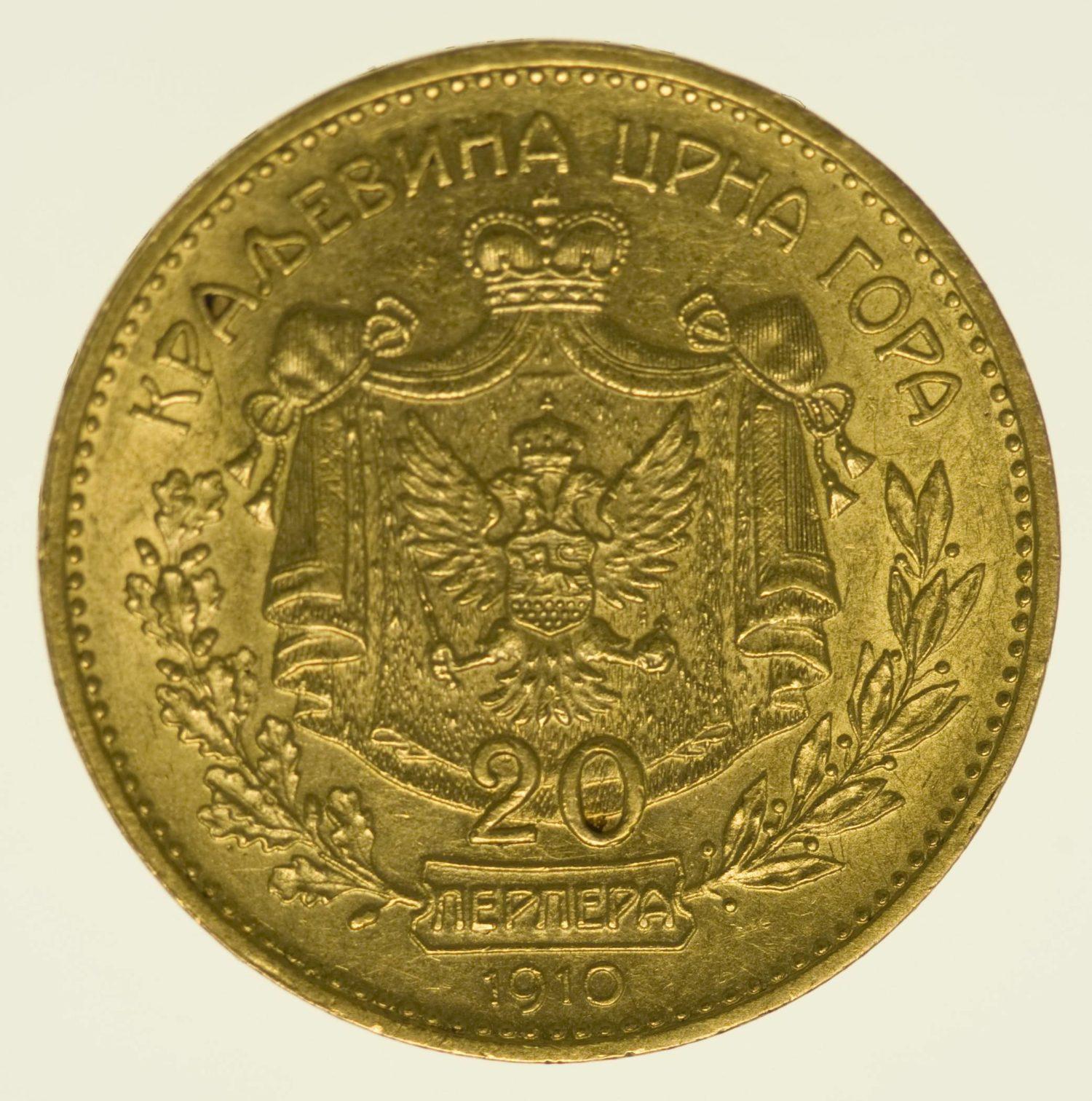 Montenegro Nikolaus I. 20 Perpera 1910 Gold 6,10 Gramm fein RAR