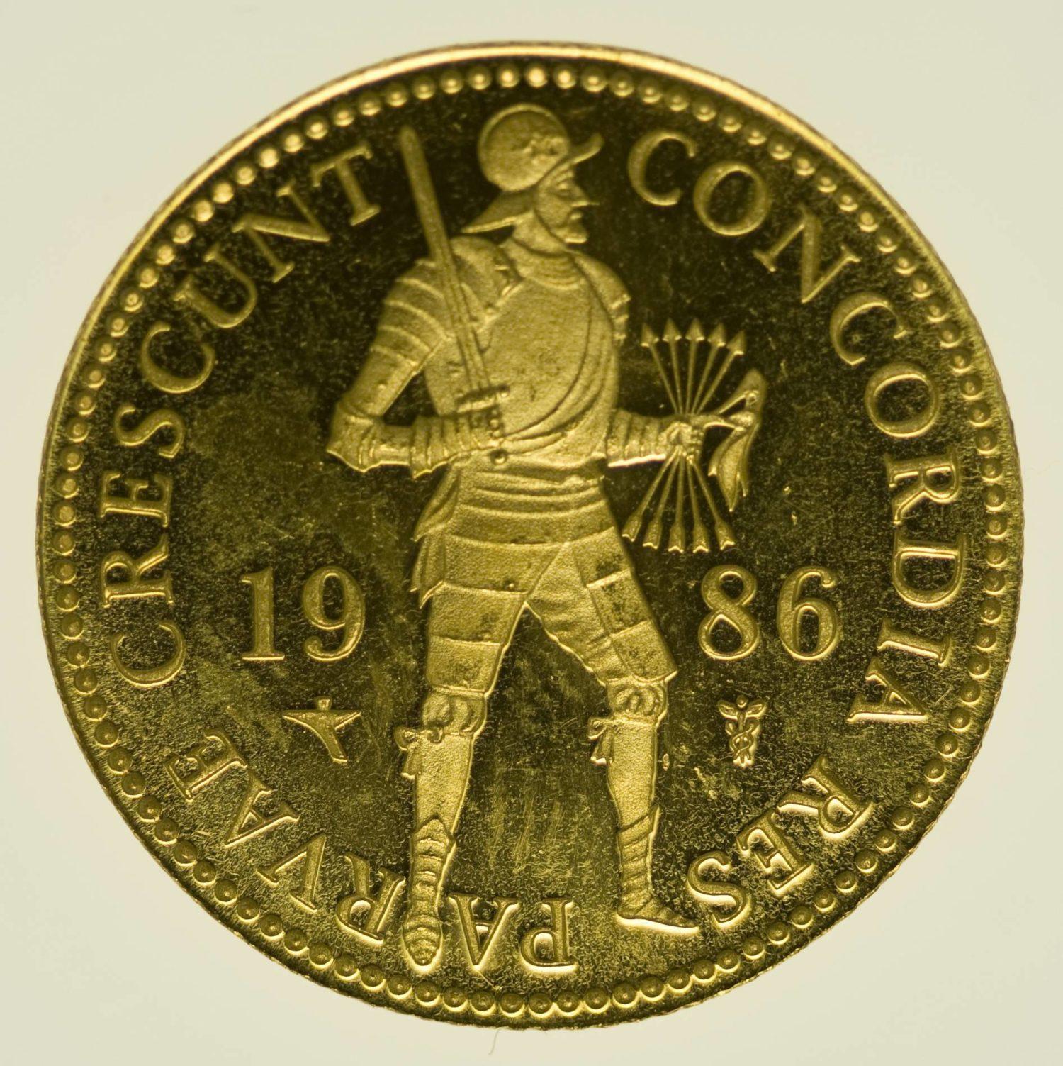 Niederlande Beatrix Dukat 1986 PP Gold 3,44 Gramm fein RAR