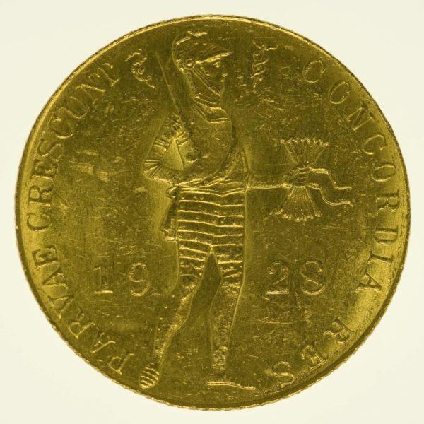 Niederlande Wilhelmina Dukat 1928 Gold 3,44 Gramm fein RAR
