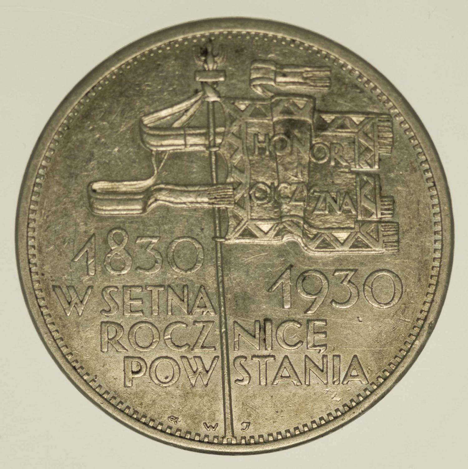 Polen 5 Zloty 1930 Silber 13,5 Gramm fein RAR