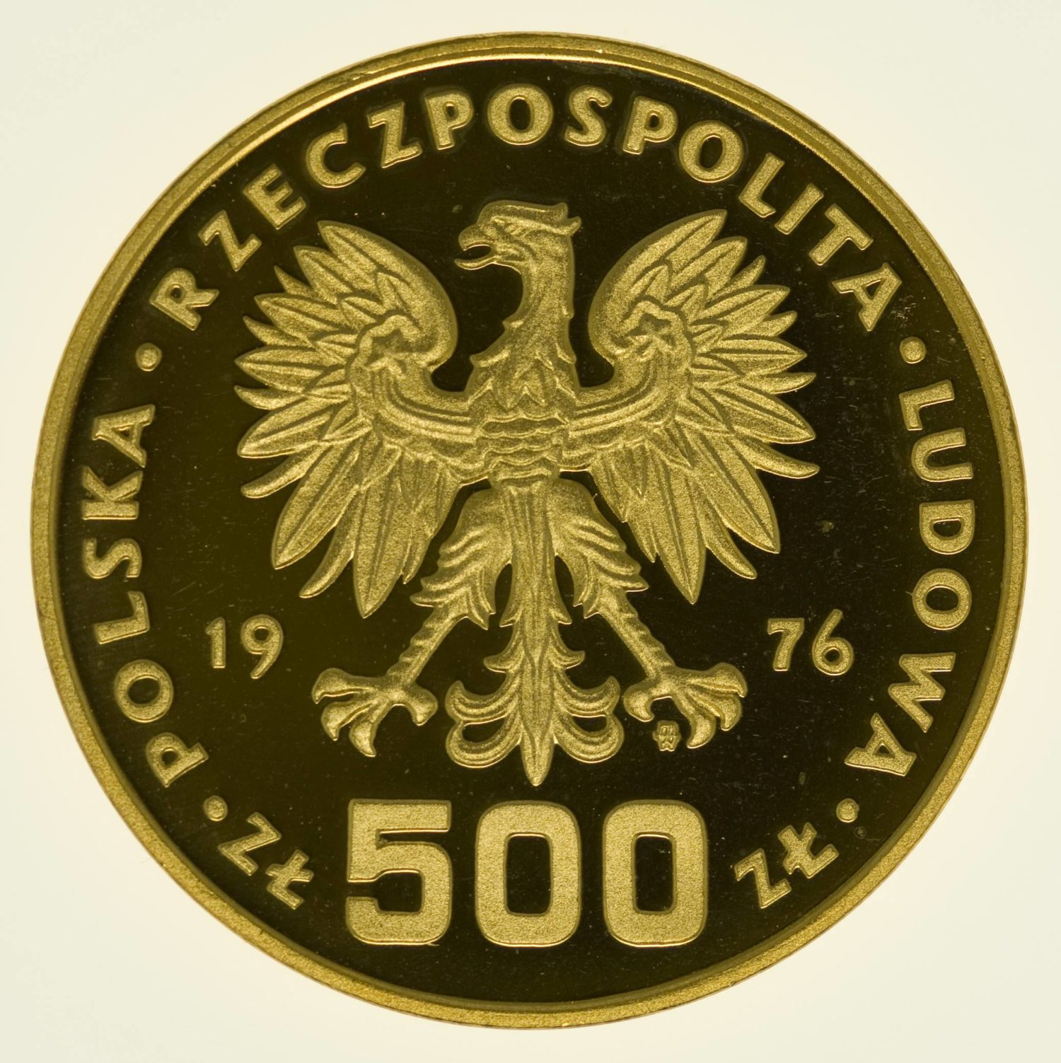 Polen Kosciuszko 500 Zloty 1976 PP Gold 26,96 Gramm fein RAR